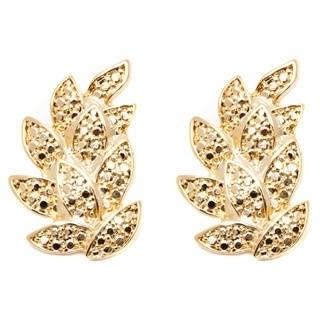 18k Gold Diamond Crushed Leaf Earrings