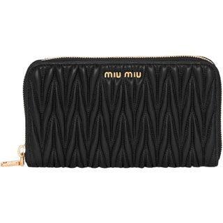Miu Miu Matelasse Leather Zip Around Wallet