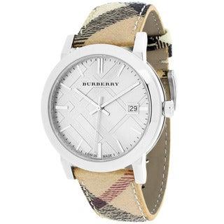 Burberry Women's BU9025 The City Round Haymarket Check Leather Strap Watch