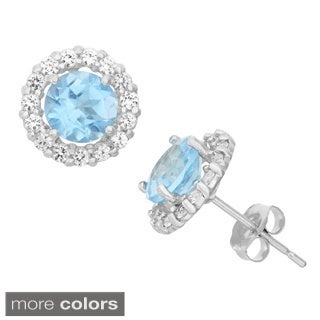 Gioelli 10k Gemstone and Created White Sapphire Halo Earrings