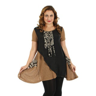 Firmiana Woman's Plus Size Short Sleeve Black and Brown Top with Pocket and Side Tail