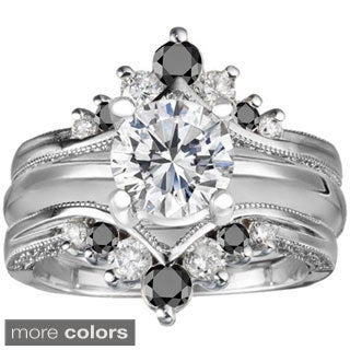Sterling Silver Black and White Cubic Zirconia Solitaire and Ring Guard Set