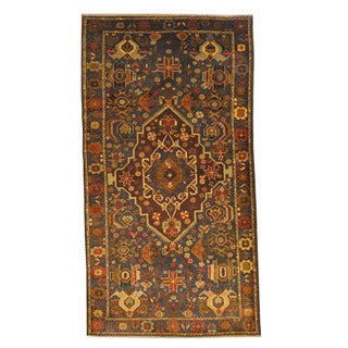 Herat Oriental Afghan Hand-knotted Semi-antique Tribal Balouchi Black/ Navy Wool Rug (3'9 x 7')