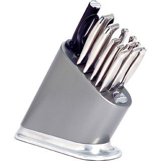 KitchenAid 14-piece Iconic Silverite Painted Cutlery Block with Aluminum Base