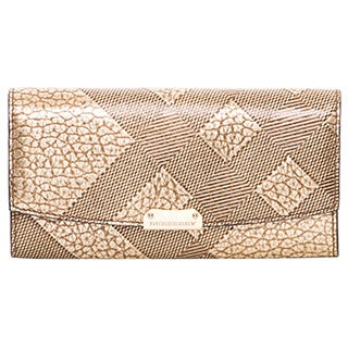 Burberry Embossed Check Leather Flap Wallet