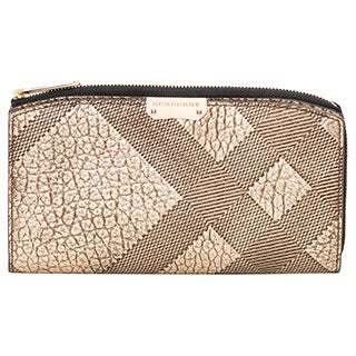 Burberry Embossed Check Leather Continental Wallet