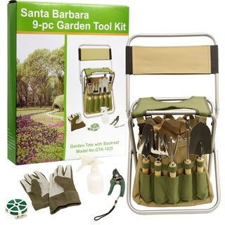 Picnic Pack 9-piece Gardening Tool Kit with Foldaway Stool with Backrest and Detachable Tote