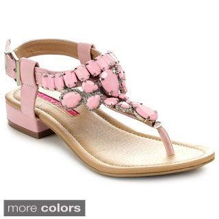 C Label CABANA-11 Women's Rhinestone T-Strap Slingback Flat Sandals