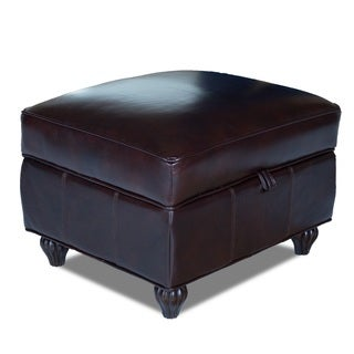 Benjamin Naples Chestnut Leather Storage Ottoman