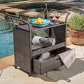 Christopher Knight Home Corona Outdoor Wicker Bar Cart