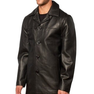 Men's Genuine Leather Button Front Car Coat with Zip-out Liner
