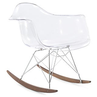 RockMoi Modern Rocking Armchair In Clear And Walnut Wood