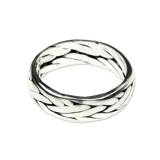 Handcrafted Men's Sterling Silver 'Singaraja Weave' Ring (Indonesia)