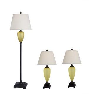 Amber Glass/ Bronze Lamp (Set of 3)