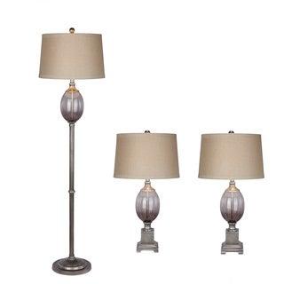 Metal/ Glass Grey Lamp (Set of 3)
