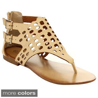 Miim Easter-02 Women's T-Thong Cut-Out Double Buckle Sandals