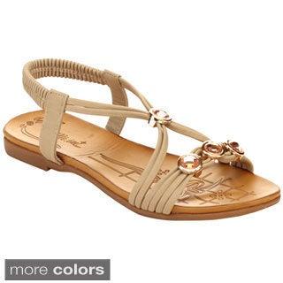 Miim Blossom-05 Women's Adjustable Big Gem Elastic Strap Sandals