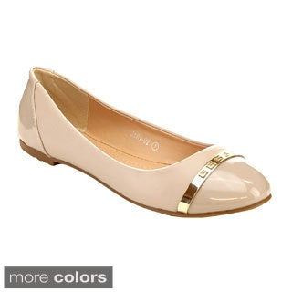 Miim Jolly-02 Women's Thin Metal Toe Detail Shiny Flats