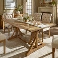 TRIBECCA HOME Benchwright Rustic Pine Trestle Concrete Dining Table