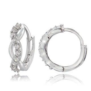 ICZ Stonez Sterling Silver Cubic Zirconia Infinity Mini Hoop Earrings
