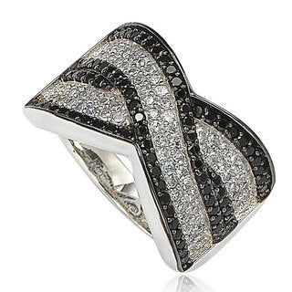 Suzy Levian Sterling Silver Black and Aqua Cubic Zirconia Pave Ring