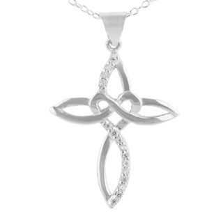 Sunstone Sterling Silver Cubic Zirconia Cross Heart Knot Necklace