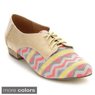 C Label Elaine-8 Women's Lace-up Low Heel Patterned Flats