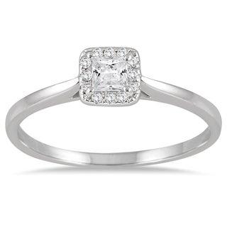 14k White Gold 1/3ct TDW Diamond Halo Square Engagement Ring (I-J, I1-I2)