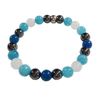 Blue Chalcedony Quartz with Apatite, Moonstone and Hematite Bracelet