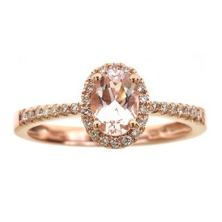 Anika and August D'Yach 14k Rose Gold Oval-cut Morganite 1/5ct TDW Diamond Ring (G-H, I1-I2) (Size 7)