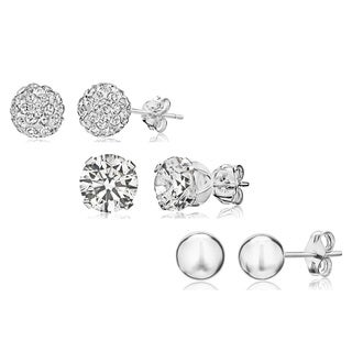 Sterling Silver Crystal and Cubic Zirconia 3-piece Stud Earrings Set