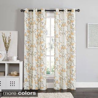 Victoria Classics Rebecca Floral 84-inch Grommet Top Blackout Curtain Panel Pair