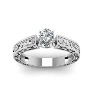 Fascinating Diamonds 14K Gold Oval Shaped Diamond Solitaire Archaic Engagement Ring