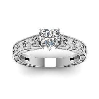 Fascinating Diamonds 14K White Gold 1/2ct. TDW Heart Diamond Solitaire Ring