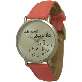 Olivia Pratt Already Late Leather Band Watch