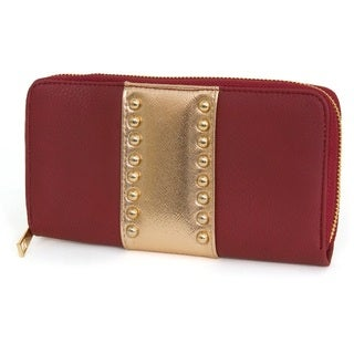 Rebecca and Rifka Studded Faux Leather Zip Around Wallet