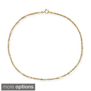 10k Gold 1.7mm Singapore Chain Anklet