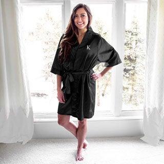 Personalized Black Satin Robe