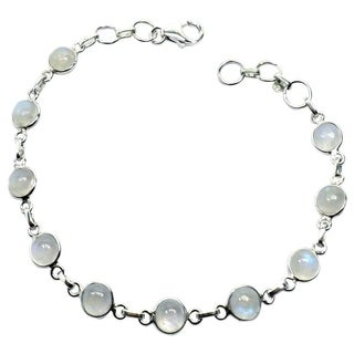 Sterling Silver Rainbow Moonstone Link Bracelet (India)