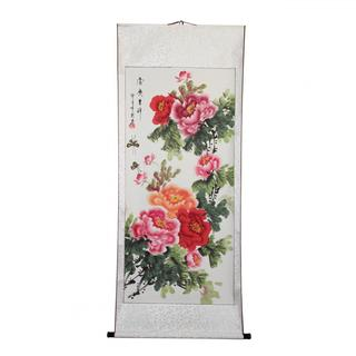 Hand-painted Peony Flower Chinese Scroll (China)