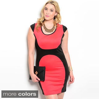Shop The Trends Women's Plus Size Cap Sleeve Bodycon Dress With Curved Color Block Design