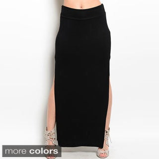 Shop The Trends Women's Foldover Maxi Skirt with Double Side Slits