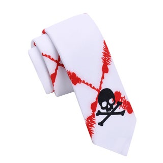 Skinny Tie Madness Men's Bloody Sunday White/Red Skinny Tie with Skull Print