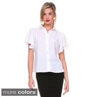 Stanzino Women's Crystal Embellished Flutter Sleeve Button Down Shirt