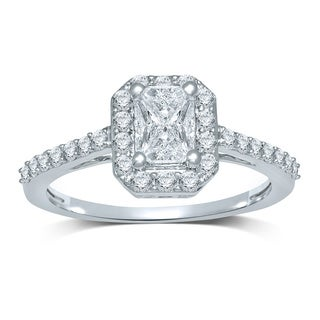 14k White Gold 3/4ct TDW Emerald 'Cushella Love Cuts' Diamond Halo Engagement Ring (H-I, SI3)