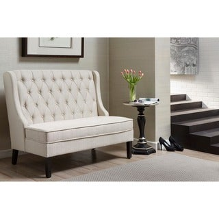 Linen Button Tufted Upholstered Banquette Bench