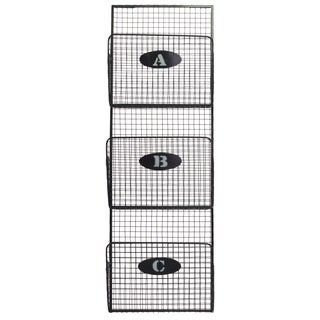Grey Metal Mail Organizer Mesh Design with 3 Lettered Tiers Small