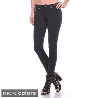 Stanzino Women's Solid Zip Waist Skinny Pants