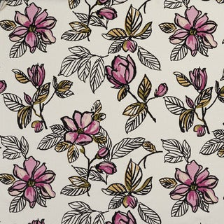U0350D Lilac Large Flowers Layered Microfiber Velvet on Cotton Upholstery Fabric by the Yard