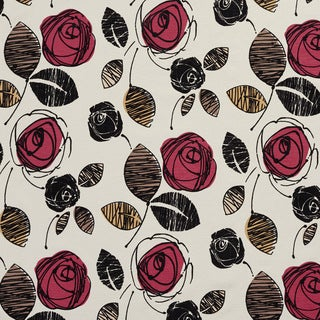 U0370B Rose and Black Roses Layered Microfiber Velvet on Cotton Upholstery Fabric by the Yard